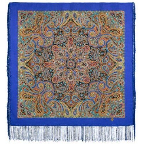 Pavlovo Posad Shawl - Gorozhanka, blue. Silk fringe, 89 * 89 cm