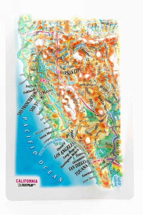 California. High raised relief panorama. 3D Fridge magnet