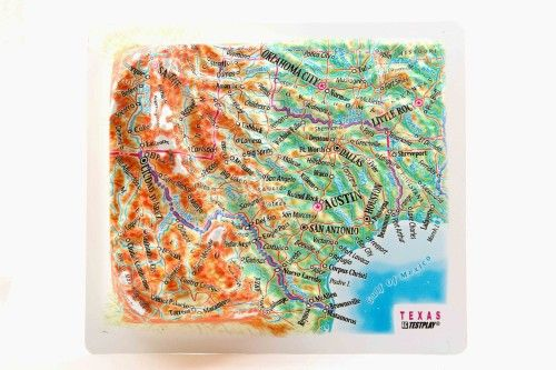 Texas. High raised relief panorama. 3D Fridge magnet