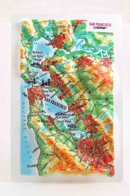 San Francisco. High raised relief panorama. 3D Fridge magnet