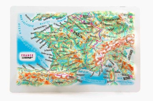 France. High raised relief panorama. 3D Fridge magnet