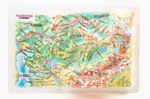 Kazakhstan. High raised relief panorama. 3D Fridge magnet