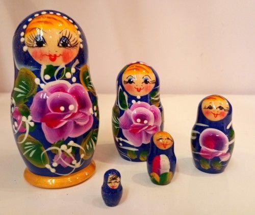 Matryoshka (Nesting doll) Glasha - blue 5 items