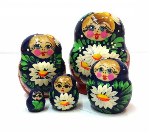 Matreshka Matryoshka (Nesting doll) small plump -Chamomile/Romashka, 5 items (Art. 601)
