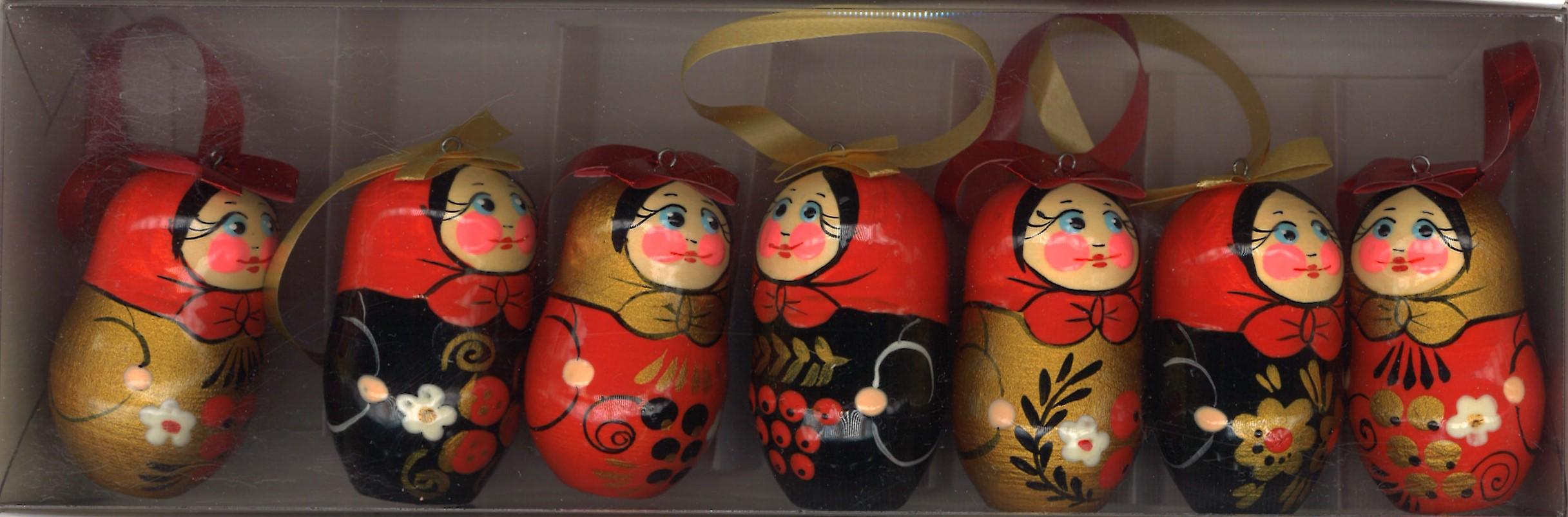A set of Christmas toys Matreshkas