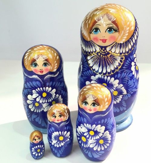 Matryoshka Alyonushka, blue, big, 5 items