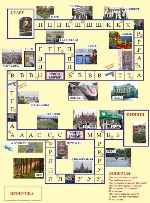 "Game set ""Where are you going?"" (Kuda ty idyosh?) for learners of Russian"