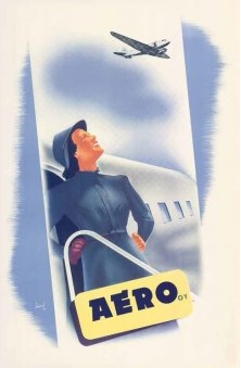 Postcard Aero Stewardess