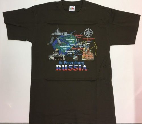 T-shirt - St.Petersburg Russia (collage is brown)