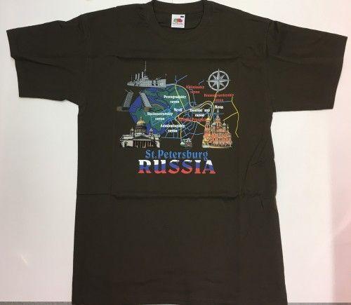T-paita - Pietari Venäjä (kollaasi on ruskea)