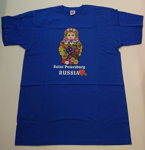 T-shirt - Saint Petersburg I Love (Matryoshka blue)