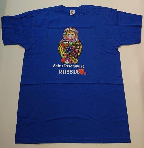 Футболка- Saint Petersburg  I Love (Матрёшка синий)