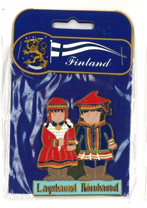 Metal magnet Lapland- Finland / Girl and boy