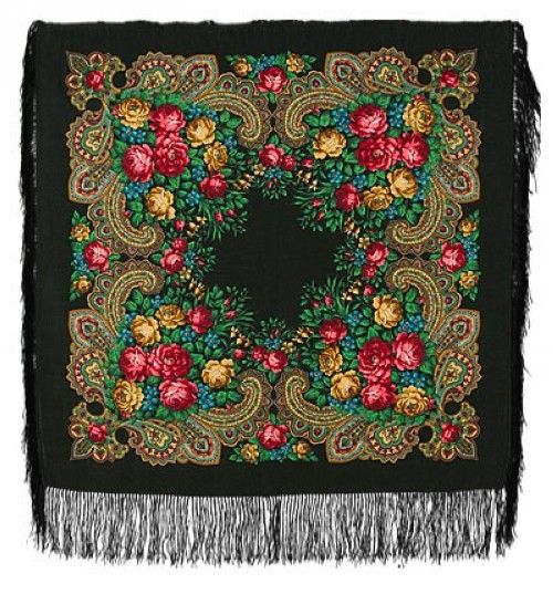 Pavlovoposadsk Headscarve. Black. The Stranger. Silk Fringe 89*89 cm