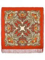 Павловопосадский платок -  Сон бабочки, оранжевый, шелковая бахрома, 125*125см