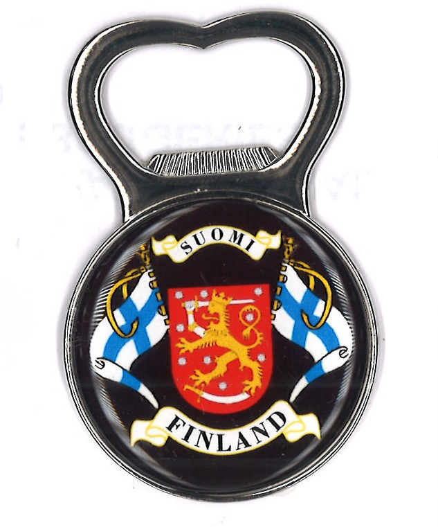 Magnet bottle opener - Flag and Coat of Arms of Finland