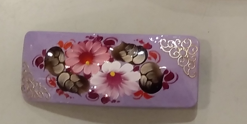 Hairpin, violet with flowers