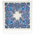 Pavlovoposadsk Headscarve. The Stranger. White. Silk Fringe 89*89 cm