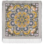 Павловопосадский платок - Домашний очаг, серый. Шелковая бахрома, 89*89 см