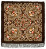 Pavlovo Posad Shawl - The Secret of the Heart, dark brown, Silk Fringe, 125 * 125cm