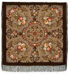 Павловопосадский платок - Тайна сердца, темно-коричневый, шелковая бахрома, 125*125см