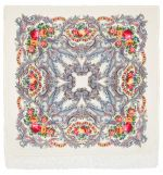 Павловопосадский платок - Сон бабочки, белый, шелковая бахрома, 125*125см
