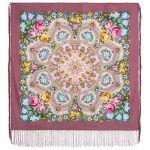 Павловопосадский платок - Домашний очаг, розовый. Шелковая бахрома, 89*89 см