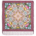 Pavlovo Posad Shawl - Housekeeping. Pink. Silk fringe, 89 * 89 cm