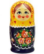 Matryoshka Semenovskaya Russian girl, Black doll with yellow swawl, 5 dolls
