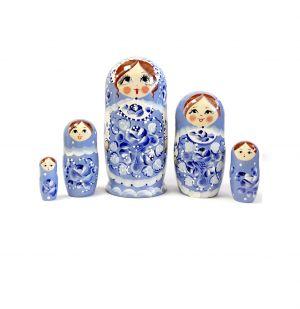 Матрешка семеновская Россияночка, голубая гжель, 7 кукол