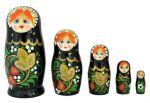 Матрешка семеновская Россияночка, черная хохлома, 7 кукол