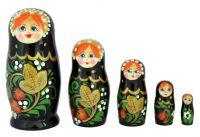 Matryoshka Semenovskaya Russian Girl, Black Hohloma, 7 dolls