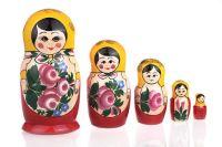Matryoshka Semenovskaya Russian Girl, Red doll with yellow shawl, 5 dolls