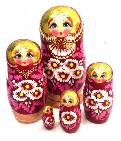 Matreshka Matryoshka (Nesting doll) flowers - Camomiles, Golden hoop (5 places)