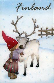 Reindeer Winter Kiss, frigde magnet - Finland