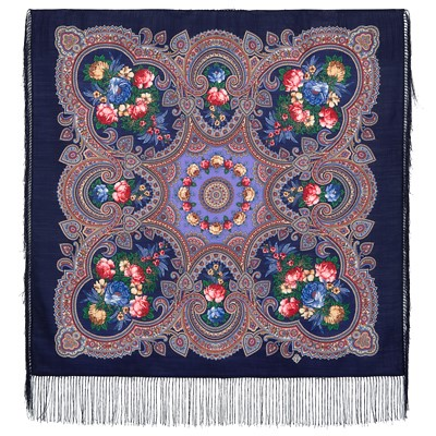Pavlovoposadsk Headscarve. Blue Indigo. Rendez-vous with the summer. Silk Fringe , 89*89 cm