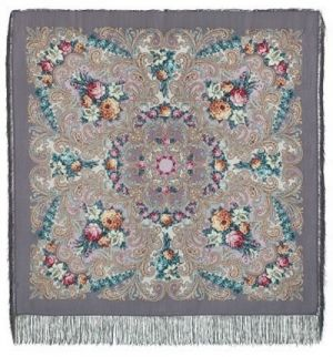 Павловопосадский платок - Тайна сердца, серый, шелковая бахрома, 125*125см