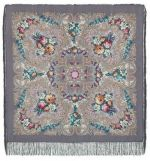 Pavlovo Posad Shawl - The Secret of the Heart, light grey, Silk Fringe, 125 * 125cm
