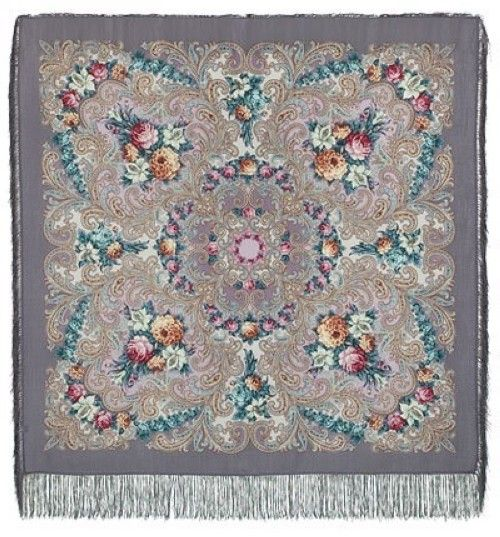 Pavlovo Posad Shawl - The Secret of the Heart, Silk Fringe, 125 * 125cm