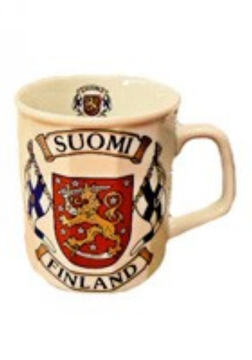 Mag, ceramic, Finnish flags and coat of arms