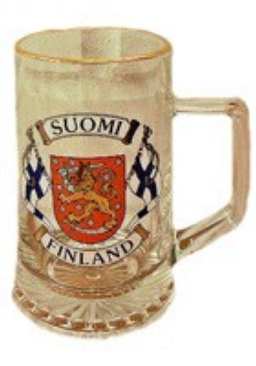 Glass beer souvenir mug, 0.4 l - Flags and emblem