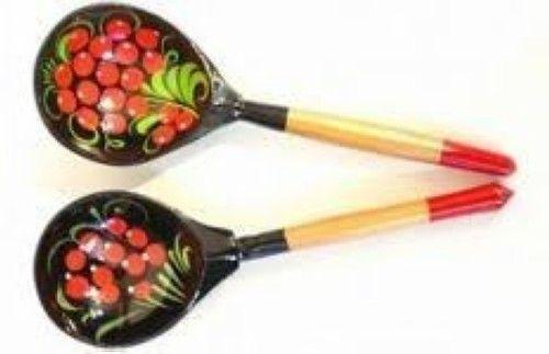 Wooden spoon, Khokhloma traditional painting, Khokhloma