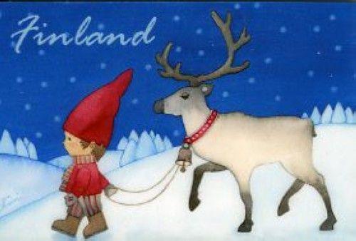 Boy and Reindeer, frigde magnet - Finland