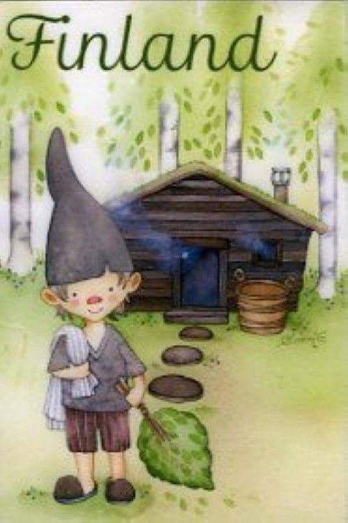 Магнит гномик-мальчик и баня. Финляндия