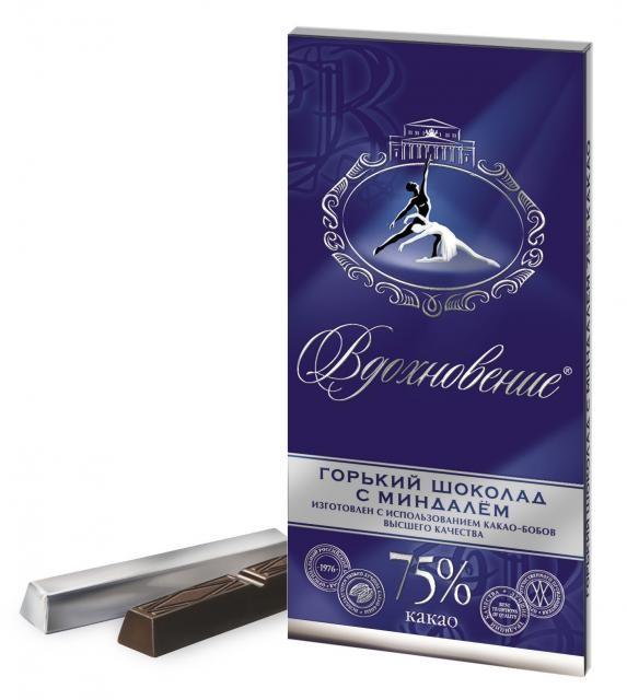 Шоколад Вдохновение - Горький шоколад с миндалем 100g