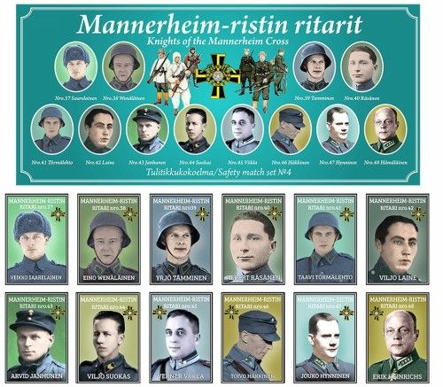 Matchboxes set Knights of the Mannerheim Cross. Set 4