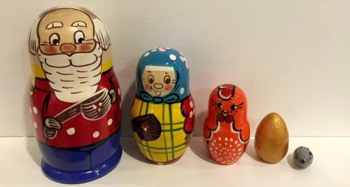 Matreshka Matryoshka (Nesting doll) Russian fairy tail Kurochka Rjaba 5 items