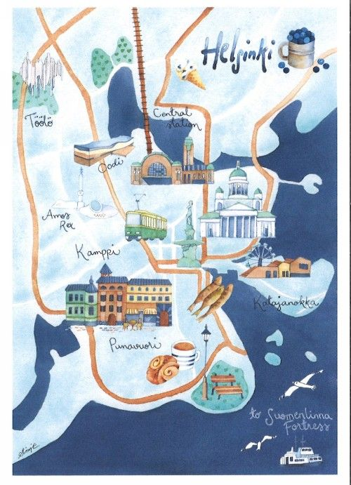 Post card - Helsinki - Map
