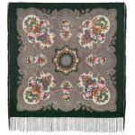Павловопосадский платок. Свидание с летом, темно-зеленый, Шелковая бахрома, 89*89 см
