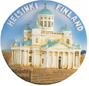 "Round ceramic magnet ""Helsinki Cathedral"""